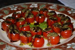 Balsamic Glazed Mozzarella Stuffed Tomatoes with Pesto