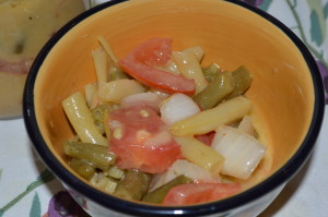 Grandma P's Green Bean, Tomato and Onion Salad
