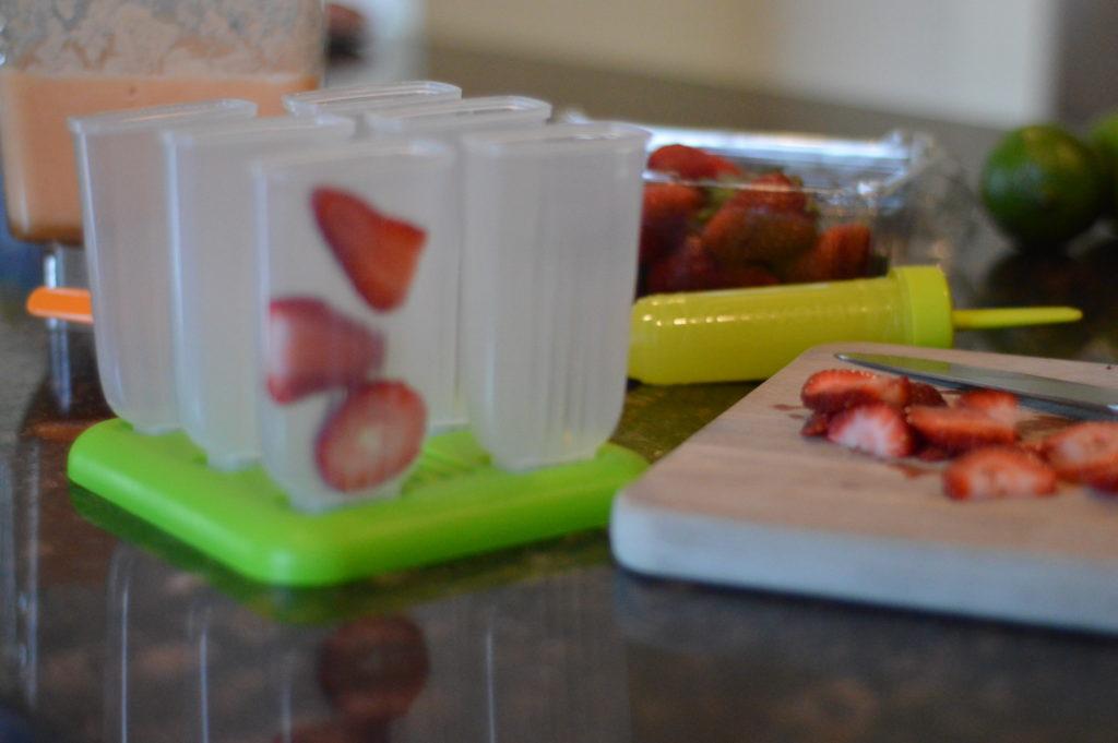Strawberry Cantaloupe Popsicles