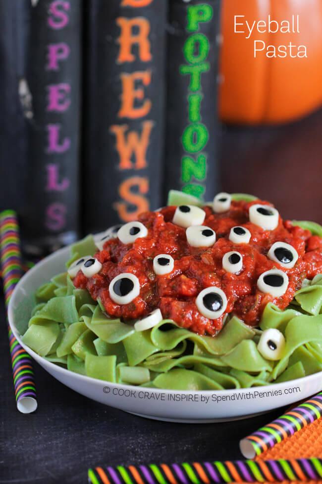 spooky Halloween eyebal pasta